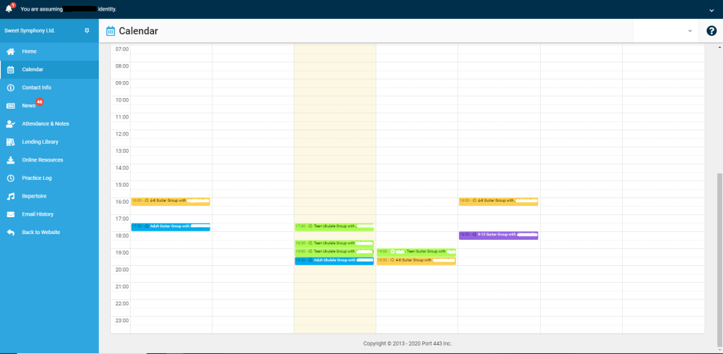 The My Music Staff online calendar allows your to view your lesson schedule and cancel/reschedule lessons 24/7 with just the click of a button.
