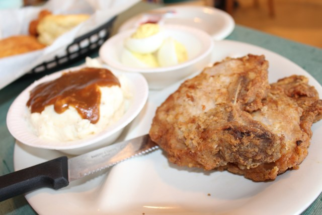 Fried Pork Chop With Mashed Potatoes & Deviled Eggs