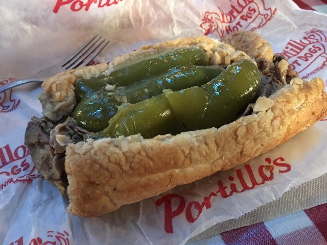 Portillo's Dipped Italian Beef Sandwich on an Italian Roll