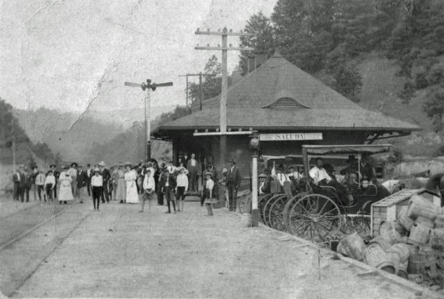 Old photo of the Saluda Train Depot from the Saluda Historic Depot Facebook Page @savesaludadepot