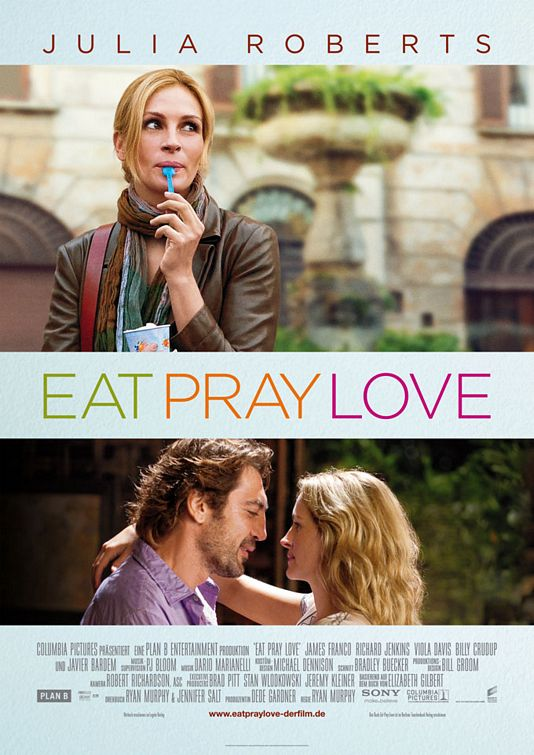 Official Eat, Pray, Love Movie Poster designed by BLT Communications, LLC (http://www.impawards.com/2010/eat_pray_love_ver3.html)