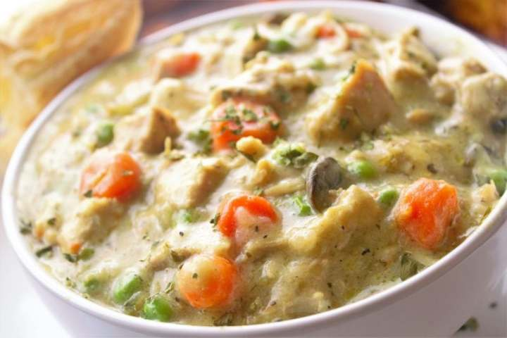 Deconstructed chicken pot pie is an easy weeknight dinner with comforting chicken, veggies, and flaky individual puff pastry crusts! A family favorite!