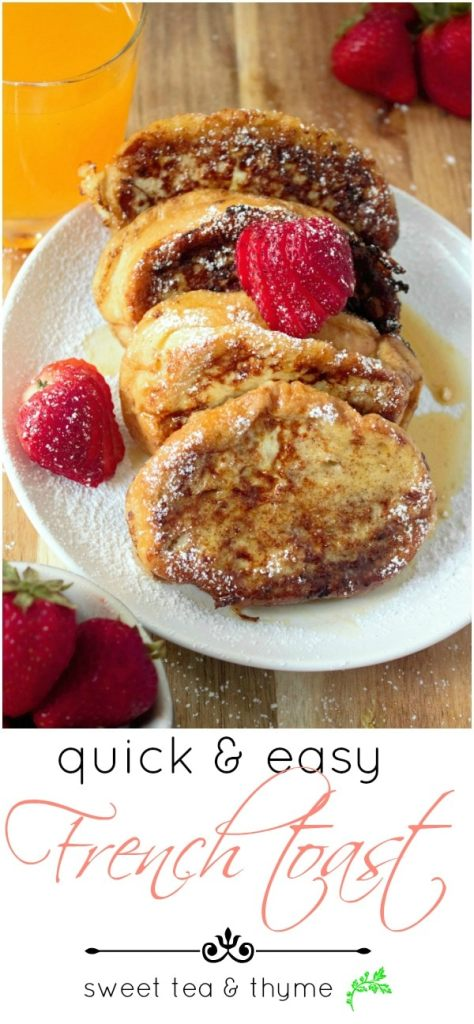 From start to finish, you'll have a delicious, filling, plate full of French Toast with a decadent vanilla custard in 10 minutes.