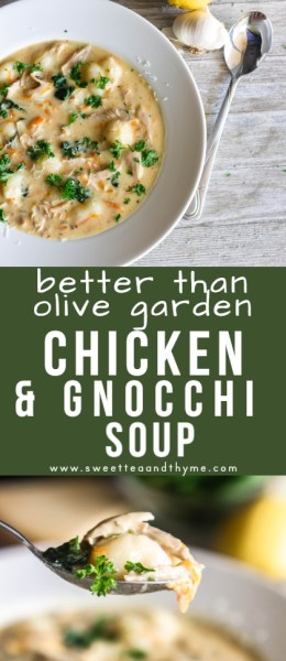 This quick and easy, one pot, comforting chicken and gnocchi soup is full of flavor, with herbs, spinach, shredded carrots, tender potato gnocchi, and chicken. This is better than Olive Garden's recipe, it knocks everyone's socks off.