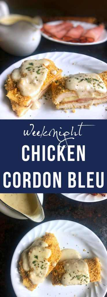 Chicken Cordon Bleu is made a weeknight dinner masterpiece that is easy to make, little clean up, only takes 30 minutes from start to finish and served with an amazing sauce over a panko-breaded chicken breast, stuffed with classic ham and melted cheese.