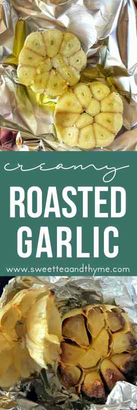 Once you roast garlic, you will become addicted! Roasted garlic is mellow, rich, with a creamy texture that is so perfect spread across a slice of baguette, in soups, mixed into mashed potatoes, or tossed with roasted veggies!