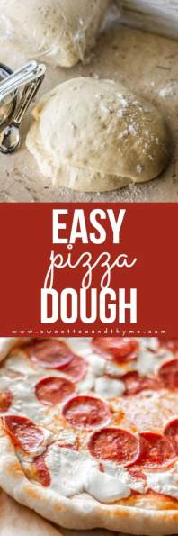 The easiest and tastiest pizza dough ever! Its uses are super versatile and it makes a mean pizza with barely any effort.