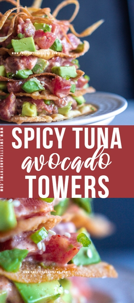 A spicy tuna avocado tower is a gorgeous, fun, and super easy appetizer using crispy fried wonton wrappers, sushi-grade tuna, ripe avocados, and delicious spicy mayo. Perfect for any dinner occasion!