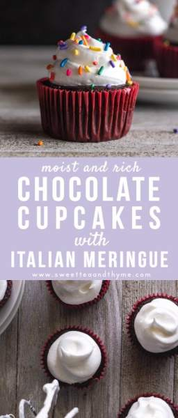 These are the best chocolate cupcakes ever: moist, fluffy bites of chocolate goodness that are incredibly easy to make. These from scratch chocolate cupcakes come out of the oven in under 30 minutes and are topped with an easy, fluffy Italian meringue.