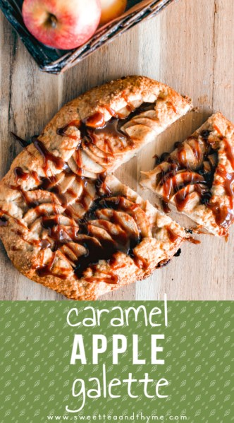 A perfect fall treat: an easy apple galette made from scratch with warm caramel drizzled on top. They're elegant, rustic, and easy to make. So easy its nickname is 'the lazy cook's apple pie'!