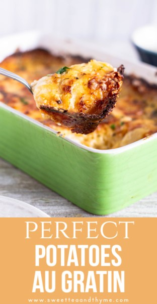 Potatoes au Gratin are a classic, easy comfort food side dish full of creamy, cheesy goodness between layers of tender potatoes. A rich homemade cheese sauce with Gruyere and cheddar makes this recipe one your family will love.