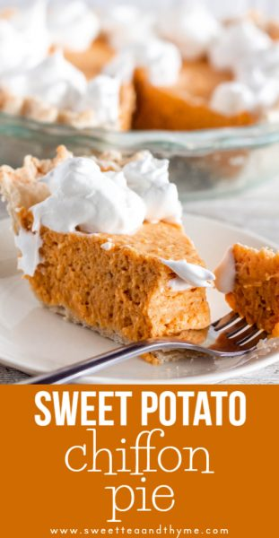 Light, sweet, and delicate, this sweet potato chiffon pie levels up your Thanksgiving Day menu. Roasting the sweet potatoes gives them a richer flavor, and an Italian meringue adds beautiful, silky volume while stabilizing the pie. The perfect Thanksgiving dessert!