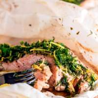 Salmon en Papillote with Lemon Dill Compound Butter and Gremolata