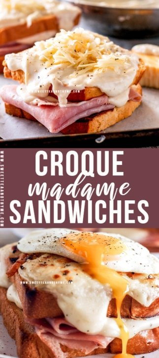 Croque Madame sandwiches are comforting, decadent, over the top brunch sandwiches with a creamy gruyere mornay sauce and sunny side up eggs!