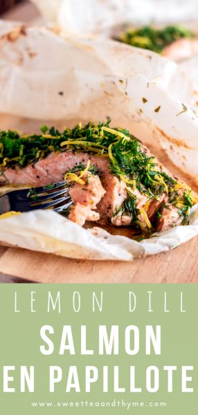 Salmon en Papillote sounds super fancy but it's a fast and easy recipe, perfect for date night! Not only is the salmon baked with a flavorful lemon dill compound butter, but it's served with fresh and beautiful gremolata.