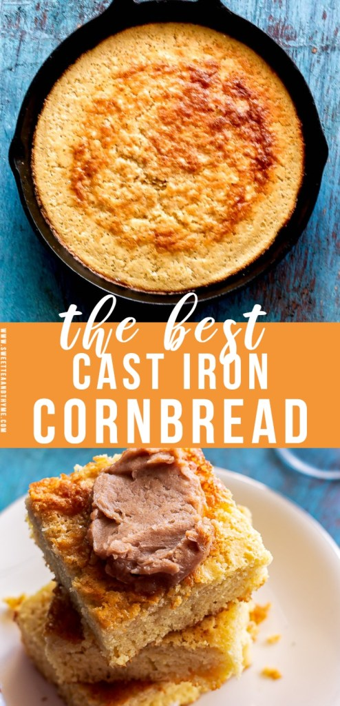 This buttery skillet cornbread is the best side dish to all your favorite dinner dishes. An easy recipe that gives you homemade golden cornbread with crisp edges and a fluffy middle in half an hour!