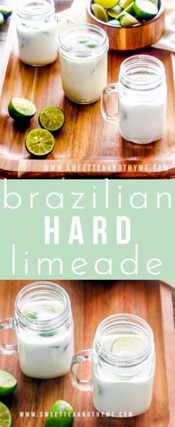 A sweet and easy cocktail, Hard Brazilian Limeade is sweet, tangy, and crazy refreshing made with sweetened condensed milk and served over ice with plenty of rum!