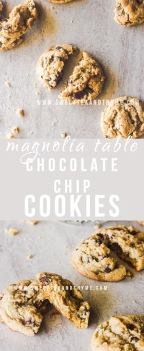 These chocolate chip cookies from Joanna Gaines' cookbook Magnolia Table are simply amazing! Thick and chewy with perfectly crisp edges, they are a serious contender for the perfect chocolate chip cookie.