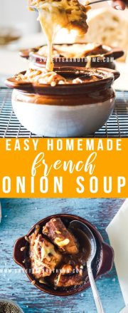 Easy classic French Onion Soup is one of my favorite cold-weather dishes! Made from scratch with perfectly caramelized onions that are simmer in a beefy broth with brandy, then topped with toasted baguette and delicious golden-brown, bubbly cheese. This soup is simple to make with big results.