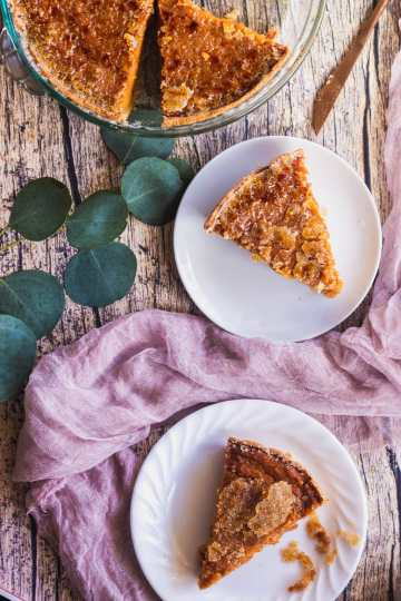 sweet potato pie slices with cracked brulee sugar crust on plates