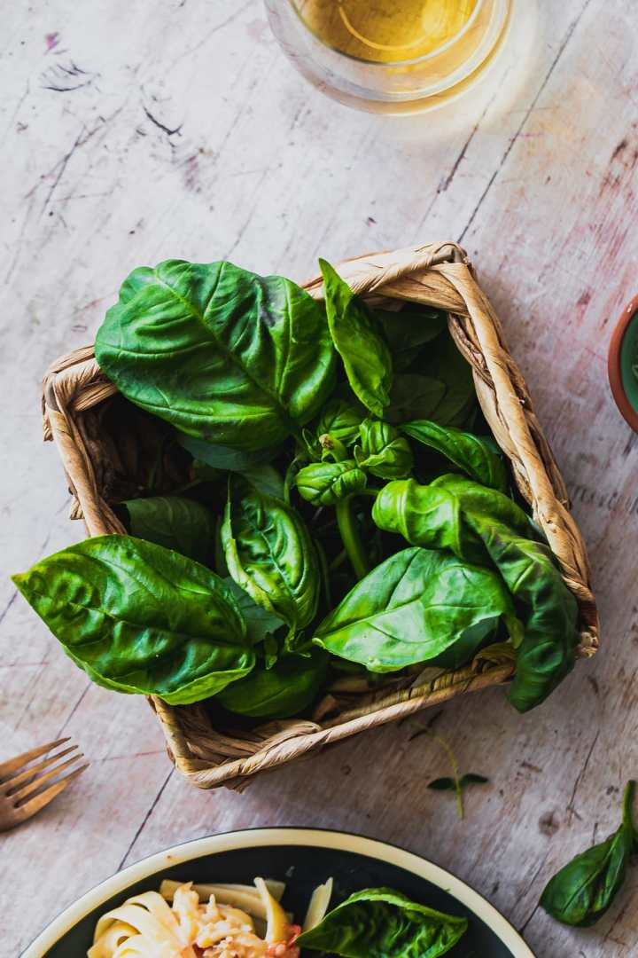 a basket of fresh basil and thyme on a wood table
