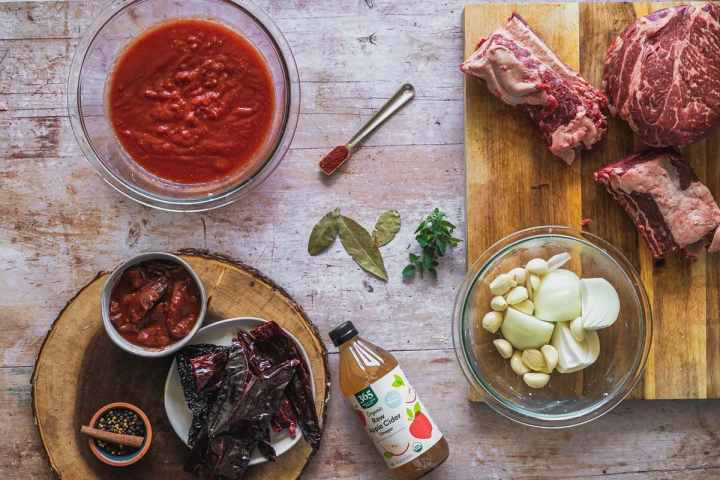 overhead view of the ingredients for birria made in the instant pot