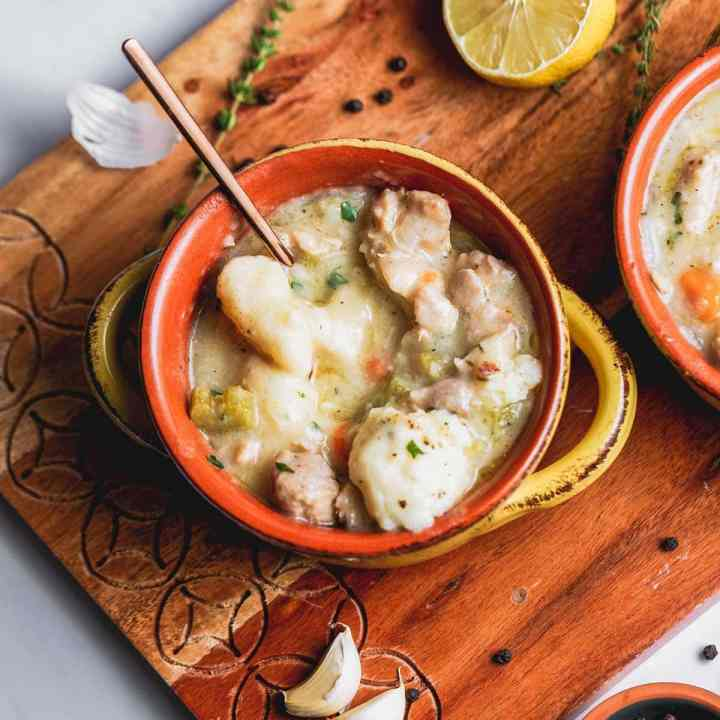 overhead shot of a bowl of creamy southern chicken and dumplings