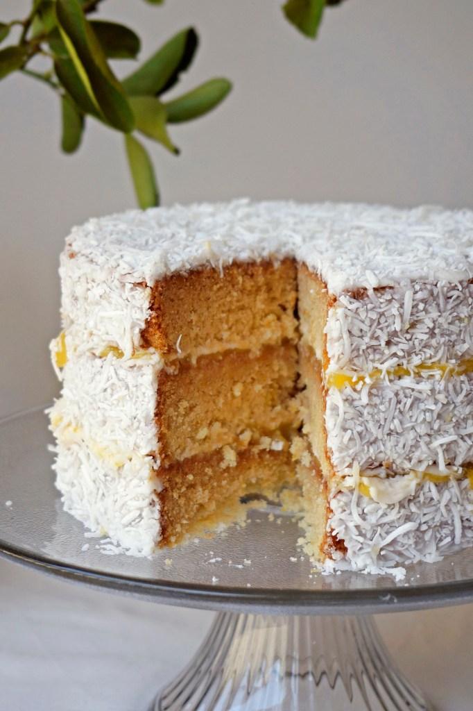 Lemon Lamington Layer Cake {vegan, GF}