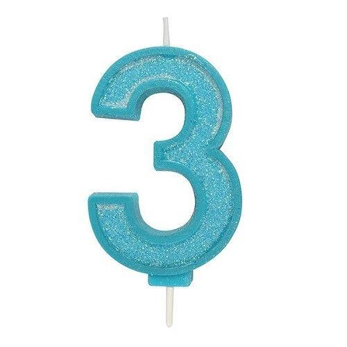 Cijferkaars Glitter blauw - 3