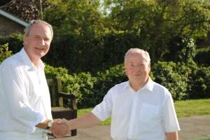 Singles Winner Ian Hennessey is congratulated by runner-up John Kenton