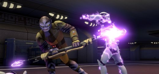 Zeb attacks a stormtrooper with his bo-rifle in Star Wars Rebels.