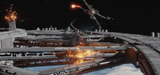 Space combat over Scarif in Rogue One.