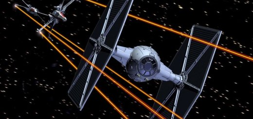 X-Wing versus a TIE Fighter.