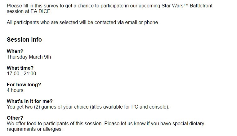 Un playtesting de Star Wars Battlefront II le 9 mars ?