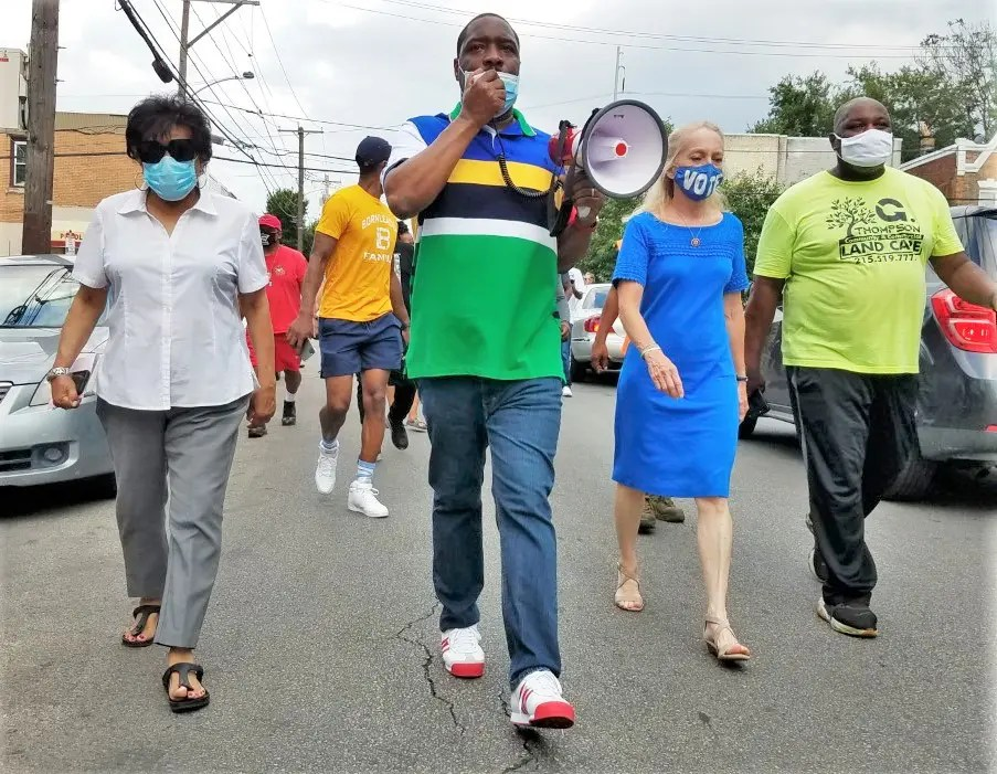 U.S. Rep. Mary Gay Scanlon (2nd from right) with City Council members Jannie Blackwell and Kenyatta Johnson march in protest to the epidemic of killings in the city and in Southwest, July 15.