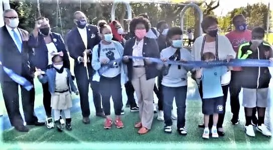 Attending the ribbon cutting of the new play area at McCreesh Park October 15 are Councilman Kenyatta Johnson, Mayor Jim Kenney, Register of Wills Tracey Gordon, Kathryn Ott Lovell, Philadelphia Parks & Recreation Commissioner, and State Rep. Joanna McClinton.
