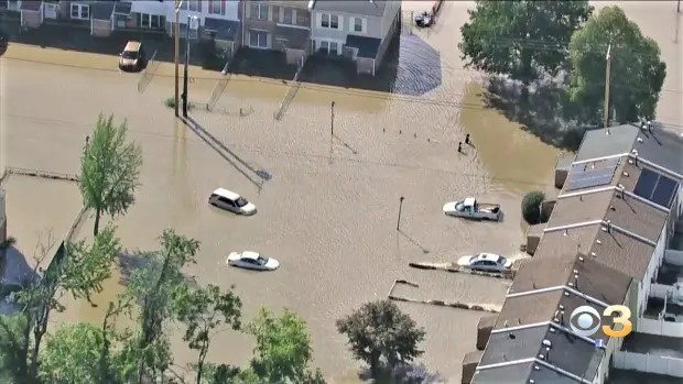 A familiar picture:  Flooding in Eastwick due to the Isaias Tropical Storm in August 2020.  Flood risks have been a recurring problem since the development of Eastwick housing project (Photo courtesy of CBS News)