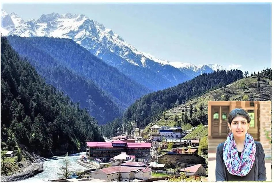 Cabrini Univ. senior pre-med student Maria Khan against the massive mountains of her native Swat Valley in northern Pakistan
