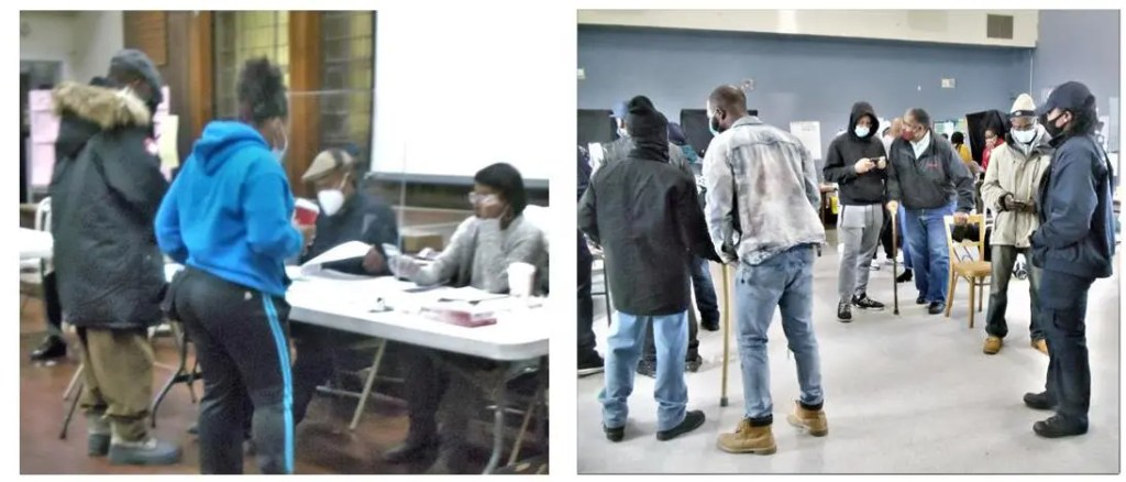 Photo on the left:  The end of a long, patient wait; voters in a Southwest polling place sign in and await their turn to pick up their paper ballots and register their critically important votes. Several hundred voters had lined up in the chill predawn to exercise their hard-won voting rights.   Photo on the right:  At a newly minted polling place, election officials guide voters through the process of using the new voting machines. This assistance was a big help to both elderly and the many first-time Southwest residents.