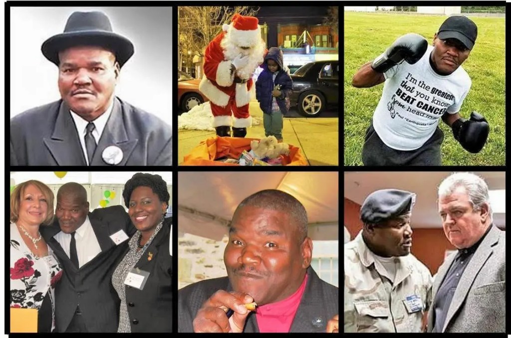 """Remembering Paul """"Earthquake"""" Moore's unique presence in Southwest (clockwise from upper left):  Church pastor; """"Community Claus"""" for kids; cancer survivor & fundraiser; activist on key political issues; joyful supporter of public programs; community service leader; activist."""