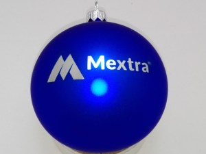 bombki świąteczne z logo mextra niebieskie