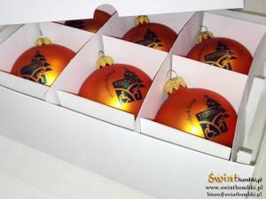 pomarańczowe bombki z nadrukiem trome