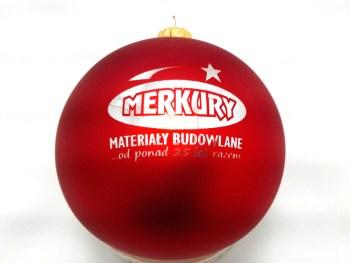 Chrismas ball with logo merkury, red