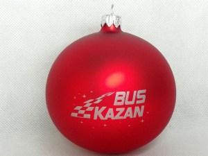 producent bombek, bombki z logo, bombka czerwona BUS