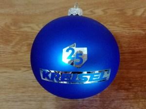 bombki z logo, producent bombek, bombka niebieska KS