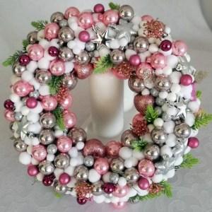 świąteczny różowo-srebrny