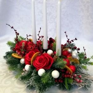 Stroik świąteczny Czerwień na święta