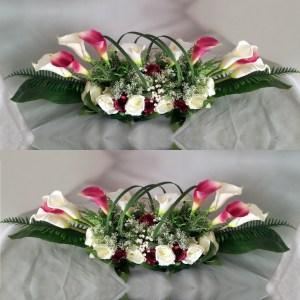 Kompozycja kwiatowa białe i amarantowe kalie nr. 122