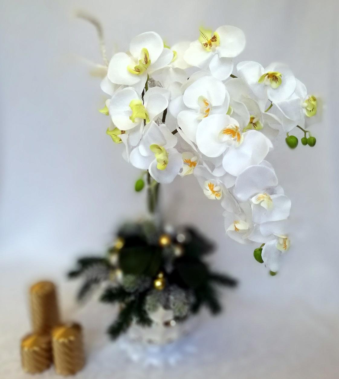 Dekoracja na święta ze storczykiem