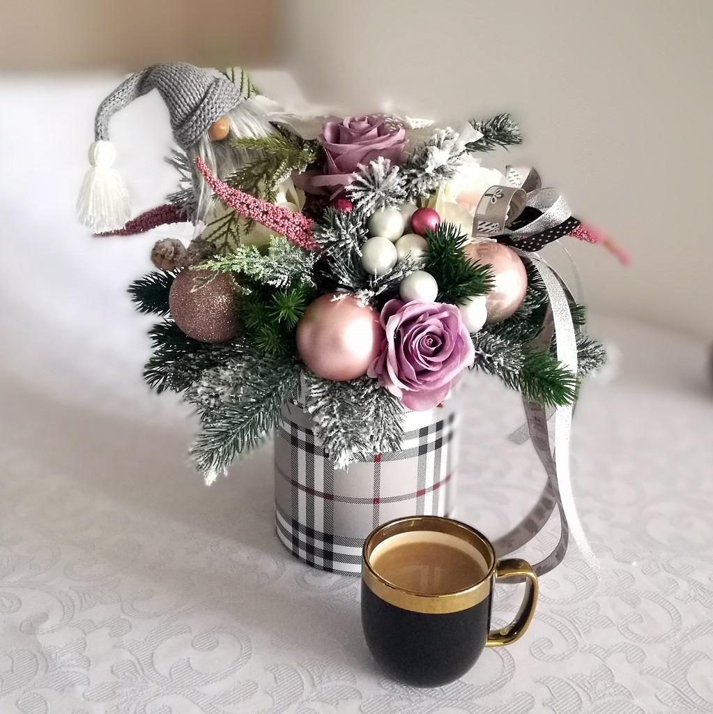 Flower box różowo-szary nr. 115